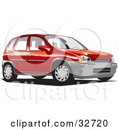 Clipart Illustration Of A Red Compact Chevy Station Wagon