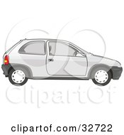 Clipart Illustration Of A Parked White Compact Chevy Car