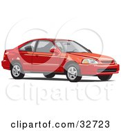 Clipart Illustration Of A Red Two Door Honda Civic Coupe Car