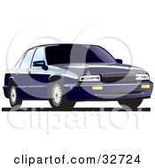 Clipart Illustration Of A Dark Blue Buick Regal With Privacy Glass
