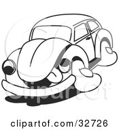 Clipart Illustration Of An Exhausted Slug Bug Hanging Its Tongue Out