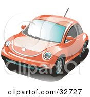Clipart Illustration Of An Orange Volkswagen Bug Car