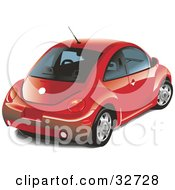 Clipart Illustration Of A Red Volkswagen Slug Bug Car With Window Tint by David Rey