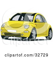 Clipart Illustration Of A Front View Of A Yellow Slug Bug Car by David Rey
