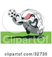 Clipart Illustration Of A Sporty Slug Bug Playing Soccer On A Field