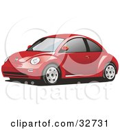 Clipart Illustration Of A Red Yellow Slug Bug Car With Tinted Windows
