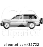Clipart Illustration Of A Silver Tata Sumo Or Isuzu Rodeo SUV In Profile by David Rey