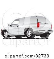 Clipart Illustration Of A White Chevy Silverado SUV With White Paneled Windows
