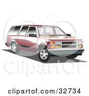 Clipart Illustration Of A Red Chevy Suburban With Black Tinted Windows