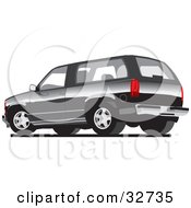 Clipart Illustration Of A Gray Chevy Silverado SUV by David Rey