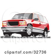 Clipart Illustration Of A Red Chevy Silverado SUV by David Rey