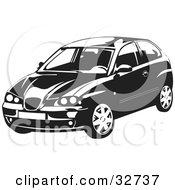 Clipart Illustration Of A Black And White SEAT Ibiza Car