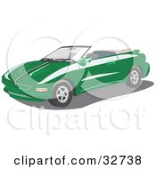 Clipart Illustration Of A Green Convertible Pontiac Firebird Car