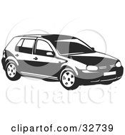 Clipart Illustration Of A Black And White Volkswagen Golf Car by David Rey