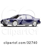 Clipart Illustration Of A Dark Blue Dodge Intrepid Car With Tinted Windows