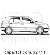 Clipart Illustration Of A Side View Of A VW Golf Car In Black And White