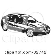 Clipart Illustration Of A Black And White SEAT Leon Car