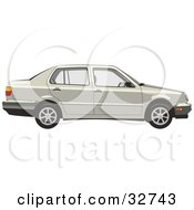Clipart Illustration Of A Beige Volkswagen Jetta Car by David Rey