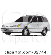Clipart Illustration Of A White Station Wagon Car With Tinted Windows by David Rey