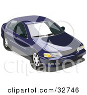 Clipart Illustration Of A Blue Nissan Sentra Car