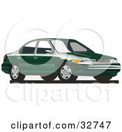 Clipart Illustration Of A Green Mercury Mystique Car by David Rey