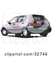 Clipart Illustration Of A Purple Volkswagen Golf Car by David Rey