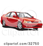 Clipart Illustration Of A Red Nissan Lucino Car