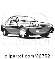 Clipart Illustration Of A Black And White Four Door Car