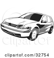 Clipart Illustration Of A Black And White VW Golf Car