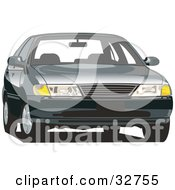 Clipart Illustration Of A Front View Of A Nissan Sentra Car