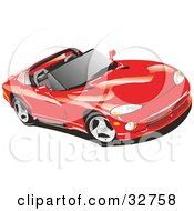 Clipart Illustration Of A Red Convertible Dodge Viper Sports Car With The Top Off And Tinted Windows