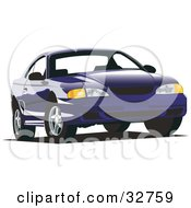 Clipart Illustration Of A Blue Ford Mustang Car by David Rey