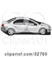 Clipart Illustration Of A Silver Dodge Neon Car With Tinted Windows