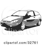 Clipart Illustration Of A Black And White Two Door Ford Focus