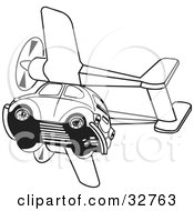Clipart Illustration Of A Black And White Slug Bug Flying With Airplane Propellers by David Rey