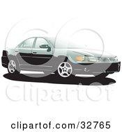 Clipart Illustration Of A Green Pontiac Grand Prix Car