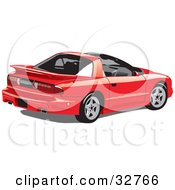Clipart Illustration Of A Red Pontiac Trans Am Sports Car With T Tops