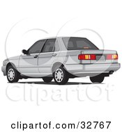 Clipart Illustration Of A Gray Four Door Car With Tinted Windows