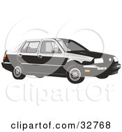 Clipart Illustration Of A Black Volkswagen Jetta Car by David Rey