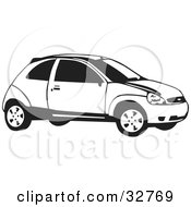 Clipart Illustration Of A Black And White Ford Focus Hatchback Car