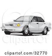 Clipart Illustration Of A White Car With Window Tint