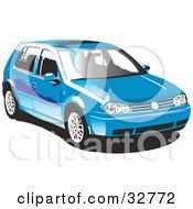 Clipart Illustration Of A Blue Volkswagen Golf Car