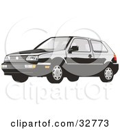 Clipart Illustration Of A Black Volkswagen Golf Car