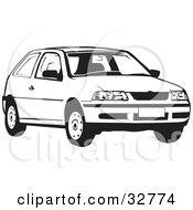 Clipart Illustration Of A Black And White Volkswagen Pointer Car by David Rey