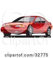 Clipart Illustration Of A Red Plymouth Breeze Car With Dark Tinted Windows