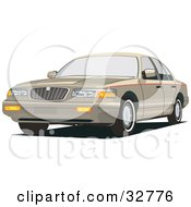 Clipart Illustration Of A Gold Mercury Grand Marquis Car