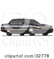 Clipart Illustration Of A Black Luxury Ford Contour Car With Privacy Glass