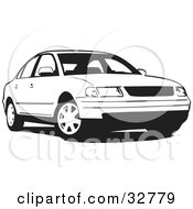 Clipart Illustration Of A Black And White Volkswagen Passat Car by David Rey