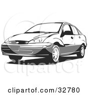 Clipart Illustration Of A Black And White Four Door Ford Focus Car