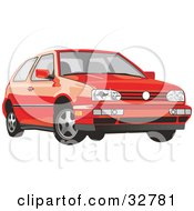 Clipart Illustration Of A Red Volkswagen Golf Car by David Rey